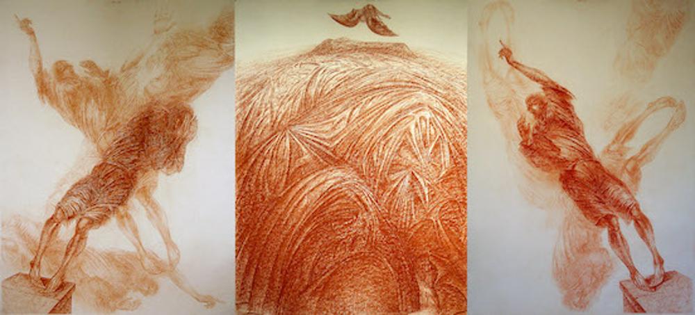 Vom Fliegen,Rötel, 2005, dreiteilige Zeichnung, 300 x 140 cm